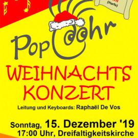 Einladung zum Weihnachtskonzert 2019 mit dem PopcOhr